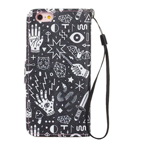 iPhone 6 / 6S 4.7 inch Coque , Apple iPhone 6 / 6S 4.7 inch Coque Lifetrut® [ Conception graphique ] [Porte] [Card Slot] Prime PU cuir flip stand Wallet Case Cover Avec lanière Coque Etui pour Apple i