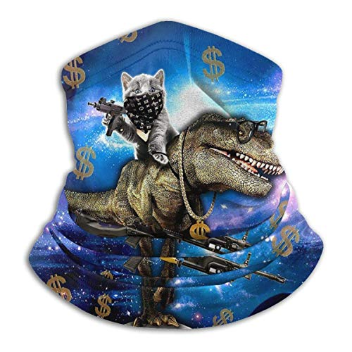 WlQshop Cat Travel On Dinosaur In Galaxy Space Neck Warmer Scarf Gaiter Face Mask Bandanas For Dust Cold Weather Winter…