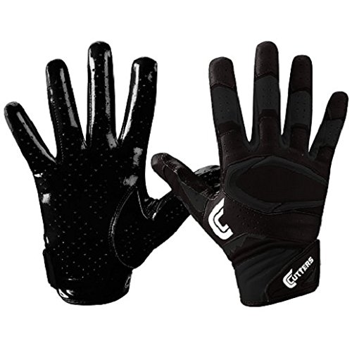 Cutters Gloves S451 Rev Pro 2.0 Receiver Football Gloves with Sticky C-Tack Grip, SOLID BLACK, Adult L Black Mens Football Receiver Glove