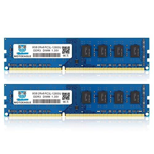 motoeagle DDR3/DDR3L 1600 MHz UDIMM RAM 16GB Kit (8GBx2) PC3/PC3L 12800U 8 GB 1.35V/1.5V 240-Pin niet-ECC niet-gebufferd…