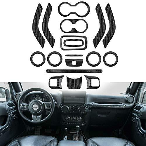 - WeifangInspire Fits for Jeep Wrangler 2011-2017 4 Door 18pcs Full Set Interior Decoration Trim Kit,Door Handle Cover Inner,Center Console Air Outlet Trim (Carbon Fiber)