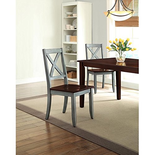 Set of 2 Crossing Dining Chairs, Blue, Constructed of Solid Wood, Beautiful Desing, Perfect for Dining Area, Living Room or Office by AVA Furniture