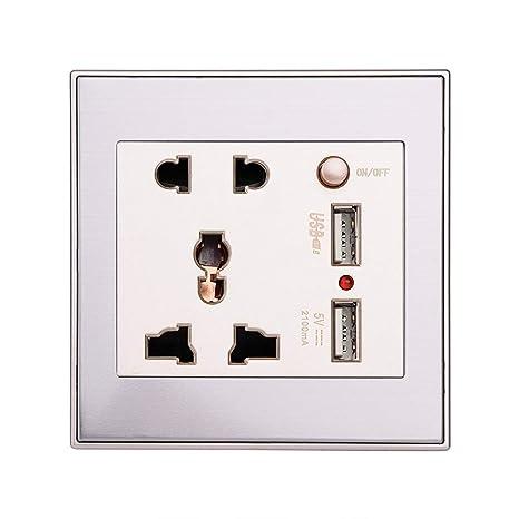 Bloqueo para niños y protección de la Puerta del calcetín 金拉丝 Placa de zócalo Blanca protección Doble 13A con 2 tomacorrientes de Puerto USB Acouto Socket de Enchufe de Pared USB