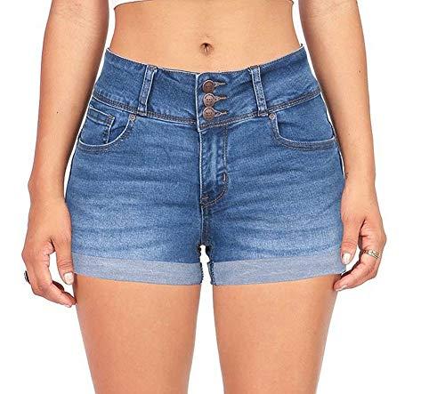 CLOTPUS Women's Juniors Stretchy Mid Rise Denim Jeans Shorts Casual Fashionable Denim Blue L ... ()