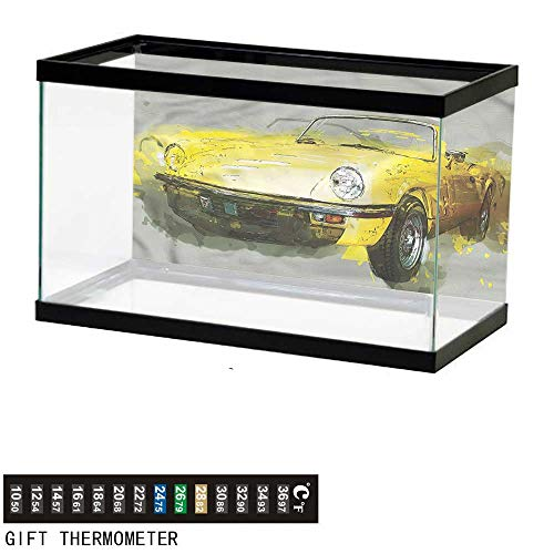 bybyhome Fish Tank Backdrop Car,Vintage Retro Style Cuban,Aquarium Background,48