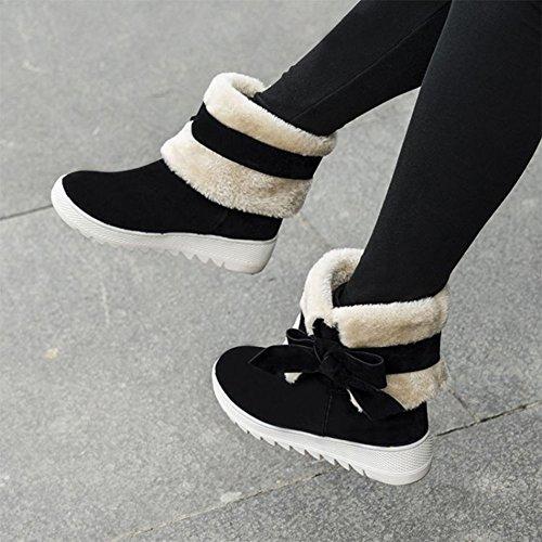 Black CHFSO Bowknot Heighten Womens Lined Boots Sweet Fleece Snow fqZq8g