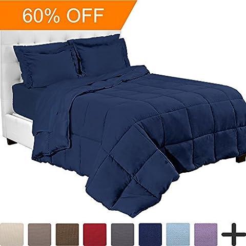 5-Piece Bed-In-A-Bag - Twin XL Extra Long (Comforter Set: Dark Blue, Sheet Set: Dark Blue) - Blue Plush Mattress Set
