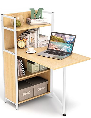 Tribesigns Small Folding Computer Desk with Bookshelves, Foldable PC Laptop Study Table Writing Desk with Storage Shelves for Small Space (Walnut) - Wood Console Table Teak