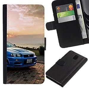 """A-type (GTR Skyline R34"""") Colorida Impresión Funda Cuero Monedero Caja Bolsa Cubierta Caja Piel Card Slots Para Samsung Galaxy Note 3 III"""