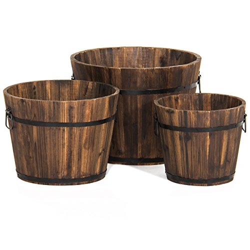 Best Choice Products Set of 3 Indoor Outdoor Patio Garden Wooden Barrel Planters w/Drainage Holes and Side Handles, Brown