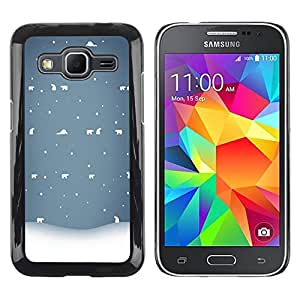 LECELL--Funda protectora / Cubierta / Piel For Samsung Galaxy Core Prime SM-G360 -- Winter White Blue Nostalgic --