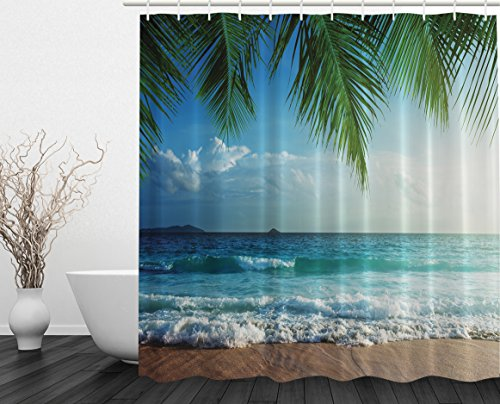 Palms Ocean Tropical Island Beach Decor Maldives High Resolution Photography Home Postcard Decor Bathroom Textile Leisure Traveler Explorer Print Fabric Shower Curtain (Fabric Shower Designer Curtains)