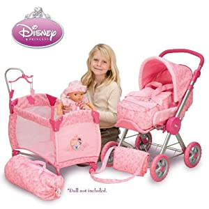 Amazon.com: Disney Princess Baby Doll Stroller and Play Yard Dream ...