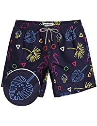 MaaMgic Mens Boys Short Swim Trunks Mens Flamingo Bathing Suits Slim Fit Swim Shorts Swimsuit for Men