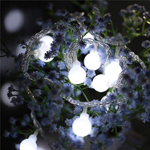 Lucoo Outdoor String Lights, Fairy Ball Dimmable Remote Ball, Battery Powered Shaped Curtain Lamp Starry String lights for Garden,Christmas Tree, Party Wedding Outdoor Decor Parties (White)