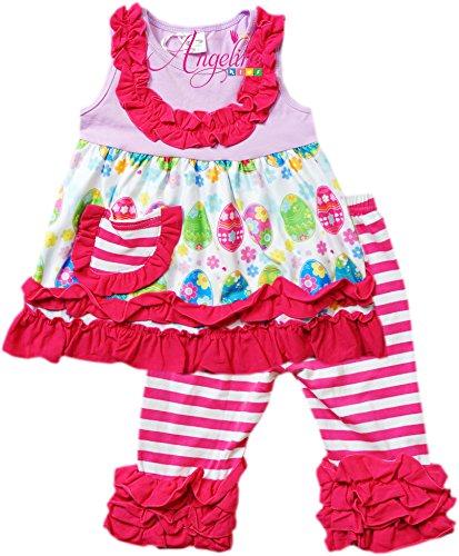 Angeline Boutique Clothing Girls Easter Eggs Ruffles Capri Set Lavender/Pink Capri Set (Easter Boutique)
