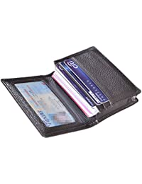 Genuine Leather Business Card Holder Name Card Case Credit Card Wallet with ID Window RFID Blocking (Coffee2)
