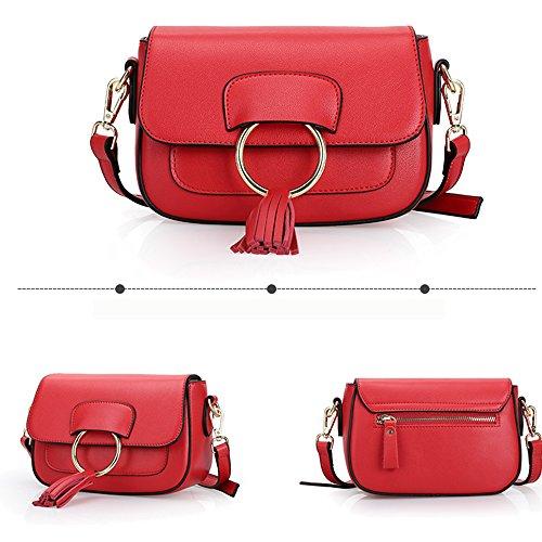 Sheli Bolso de Piel para Mujer Auténtica Piel Suave Diseño Clásico Vintage Bolso Hombro Rojo