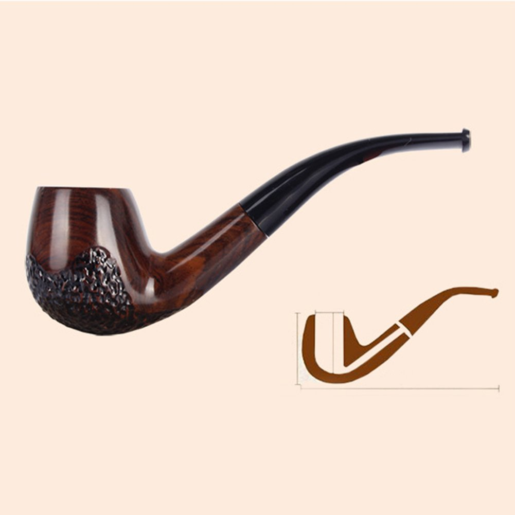UrChoiceLtd/® Tobacco Smoke Pipe Classic Brwon 508 Ebony 9MM Filter Element Wood Tobacco Smoking Estate Pipe Pipes Ebony Circled Best For Gift Hand Made
