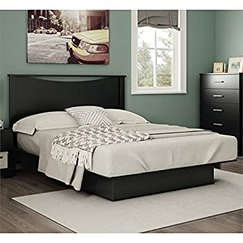 South Shore Gramercy Full/Queen Platform Bed (54/60) with Drawers, Pure Black