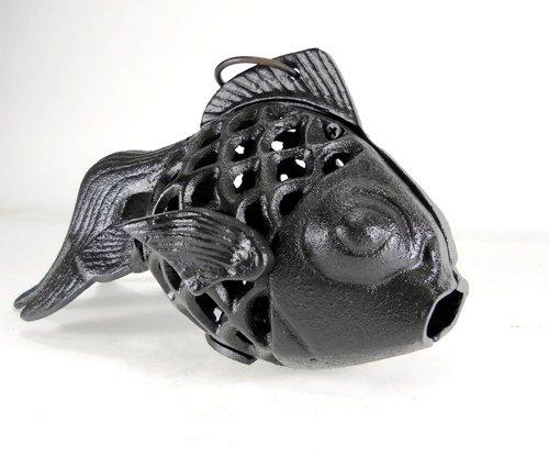 (Cast Iron Goldfish Koi Candle Holder in Black)