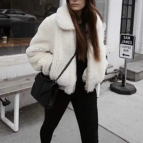 White Front Women White Fluffy Zipper Cardigan Fur Pocket Short Jackets Solid Lapel Coat Open Franterd Faux RRA5q7p