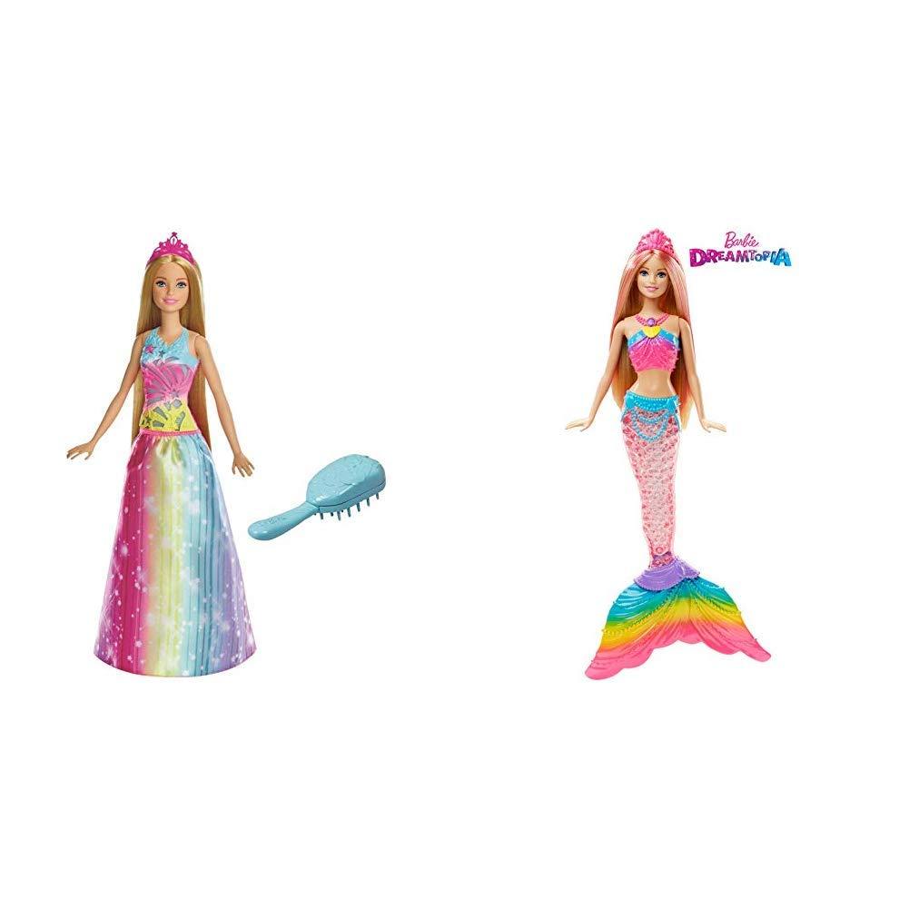 Barbie FRB12 Dreamtopia Regenbogen-Königreich Magische Haarspiel-Prinzessin  (Blond) & DHC40 - Dreamtopia Regenbogenlicht Meerjungfrau, Puppe mit ...