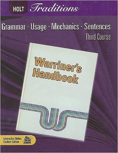 Holt Traditions Warriner S Handbook Student