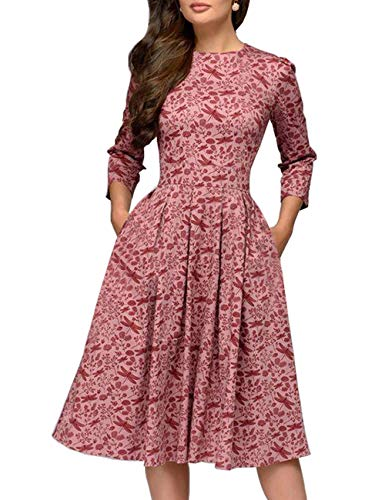 Simple Flavor Women's Floral Evening Flare Vintage Midi Dress 3/4 Sleeve(Red,L)