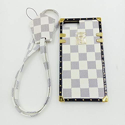 Jiehao iphone 7 Plus / iphone 8 Plus Case, Vintage Elegant Luxury Designer Lattice PU Leather Back with Lanyard Soft Bumper Shock Absorption Trunk Case for Apple iphone 7 Plus ()