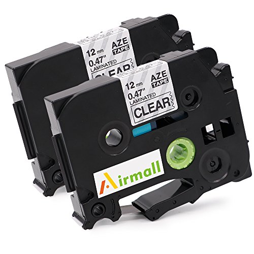 Airmall 2 Pack TZe 131 TZ131 Standard Laminated P-Touch Tape Compatible for Brother P-Touch Label Printer 12mmx8m ( Black on Clear)