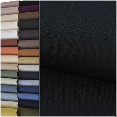 """COTTONVILL Linen Blend Bio Washing Solid Quilting Fabric for DIY Sewing Crafting 52""""Wide 3yd (Black)"""