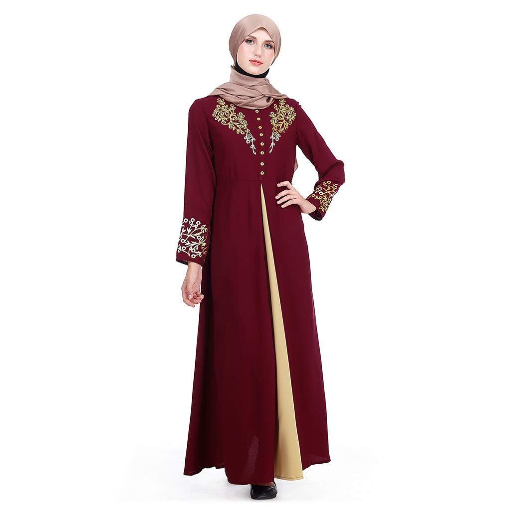 Sttech1 Muslim Printed Dress Abaya with Hijab Jilbab Islamic Clothing Maxi Muslim Dress Burqa Red