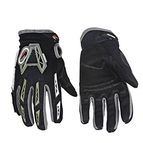 Unisex Motorcycle Racing Full Finger Gloves Sport MTB Bike Off-Road Riding Gloves (Black, XL)