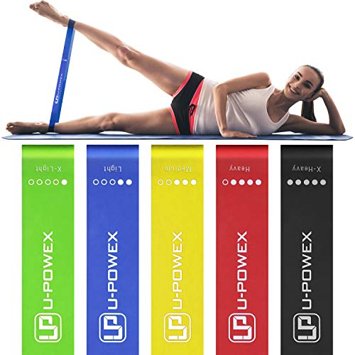 UPOWEX Resistance Bands - Set of 5 - Exercise Bands for Booty, Crossfit, Stretching, Strength Training, Physical Therapy, Home Fitness, Legs and Butt - Workout Bands with 100% Life Time Guarantee (5 Best Leg Workouts)