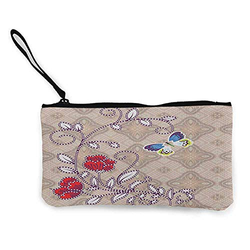 Women's hand bag clutch bag Batik Flower Body with Curved Branch and Butterflies on Retro Background Graphic Print Wallet Coin Purses Clutch W 8.5