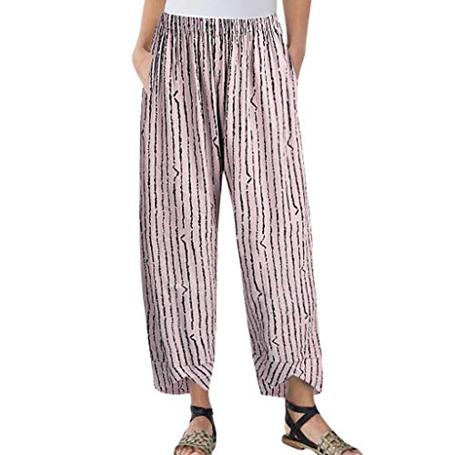 JOFOW Pants for Womens Harem Casual Vertical Striped Print Bloomers Loose Long High Waist Fashion Saggy Cropped Trousers (M,Pink -Vertical Striped)
