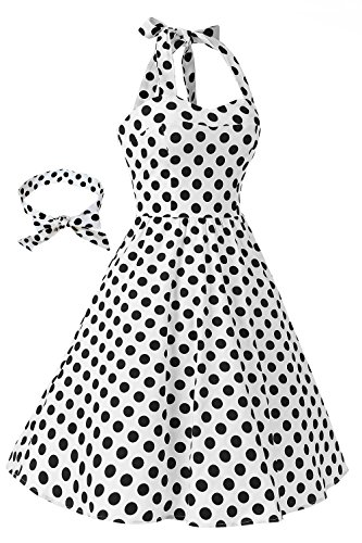 Dress Retro 1950s Dot Polka Dress Topdress Cocktail Halter Audrey White Women'sVintage gwqYa6xI8
