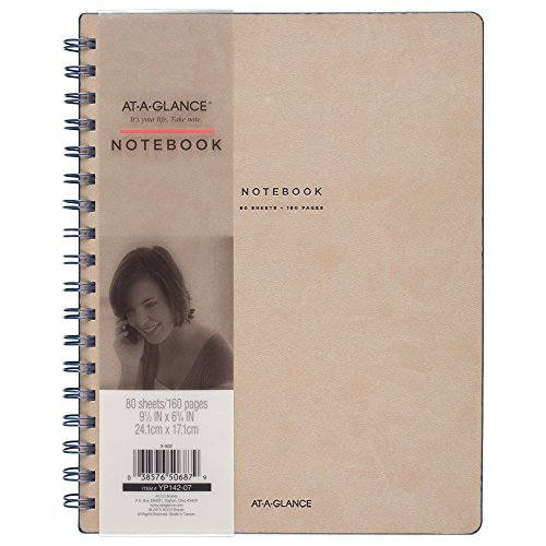 "At-A-Glance Collection Twin Wire Notebook, Ruled, 80 Sheets, 9-1/2"" x 7-1/4"", Tan/Blue (YP14207)"
