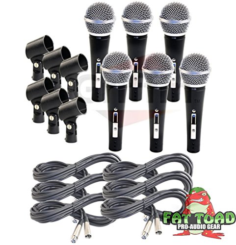 Cardioid Vocal Microphones with XLR Mic Cables & Clips (6 Pack) by Fat Toad|Dynamic Handheld, Unidirectional for Studio Recording, Live Stage Singing, DJ, Karaoke|Pro Audio 20ft Mic Cords, 3-Pin Wire by Fat Toad