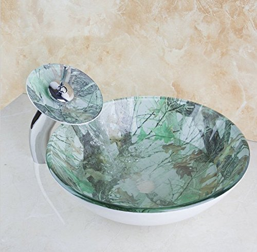 GOWE Waterfall Warm Colorful Deck Mounted Construction Real Estate Bathroom Basin Sink Vessel Faucet Tap Lavatory Glass Basin Set 0