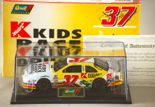 (1997 - Revell-Monogram / NASCAR - Jeremy Mayfield #37 - Kmart / Kids Race Against Drugs - Ford Thunderbird - 1:24 Scale Die Cast Metal / Revell Precision Engineered - Display Case / COA - 1 of 6,600 - Rare - Out of Production - Collectible)
