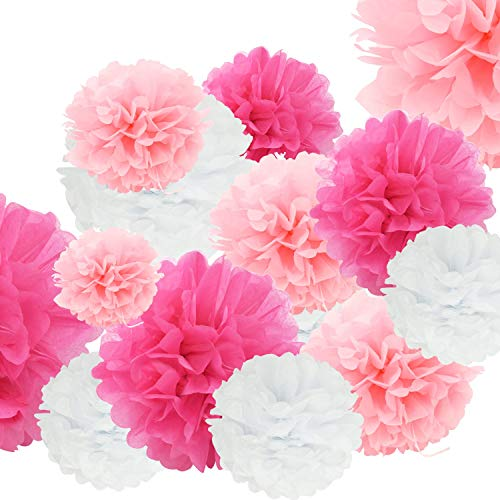 24pcs Craft Paper Tissue Pom Poms Doubletwo Ceiling Decor Wall Decor 12inches 10inches 8inches Hanging Paper Pompoms Flower Ball Wedding Party Outdoor Decoration Flowers Craft Kit Pink White