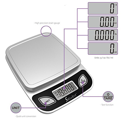 Digital Food Scale / Kitchen Scale / Postal Scale – Weigh in Pounds, Ounces, Grams - Precise Weight Scale 1g (0.04oz) to 11 lbs - Batteries Included by REM Concepts (Image #3)