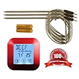 The Clever Life Company Instant Read Digital Meat Thermometer with 3 Stainless Steel Temperature Probes for Oven Cooking, Smoking or Grilling Meat, Even Candy, Red