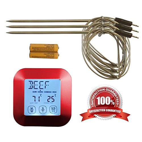 Great Digital Meat Thermometer - with Bonus 3 Temperature Probes!! Best for Oven, Grill, BBQ, Smoker, in Water & can even work with Candy! Impress your friends and family, cook perfectly every time! (Digital Meat Oven Thermometer compare prices)