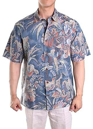 Tommy Bahama Botannica Bay Silk Camp Shirt (Color: Lt Royal Sea, Size L)
