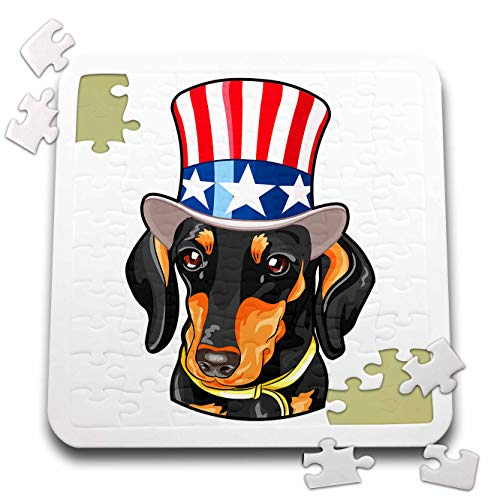 - 3dRose Patriotic American Dogs - Dachshund Wearing top hat with American Flag on it Doxie - 10x10 Inch Puzzle (pzl_295002_2)