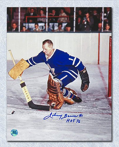 Johnny Bower Toronto Maple Leafs Signed Stick Save 11x14 Photo - Autographed Hockey Photos (Autographed Hockey Stick Merchandise)
