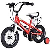 MD Group Kids Bicycle w/ Training Wheels Freestyle 16'' Red Adjustable Children Xmas Gift